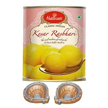 Haldiram's Kesar Rasbhari with 2 Diyas for Diwali