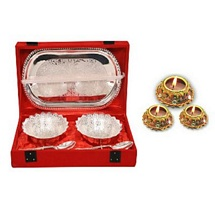 Diwali Gifts - Silver Plated Brass Bowl Set with 3 Attractive Matki Diyas