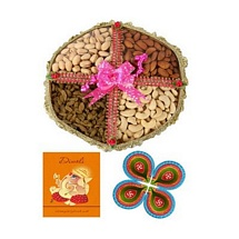 400g Dry Fruits Tokni with 1 Card and 4 Diyas for Diwali