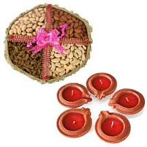 400g Mixed Dry Fruits Tokni with 5 Diyas for Diwali 2015