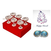 Diwali Gifts - Silver Plated Brass Icrecream Bowl Set with 2 Diyas