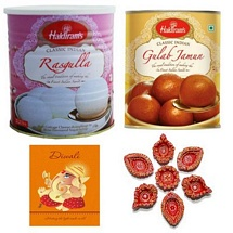 Haldiram's Combo - Gulab Jamun n Rasgulla with 7 Diyas and 1 Diwali Card
