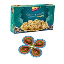 Bikano Soan Papdi 900g Pack with 4 Diyas for Diwali