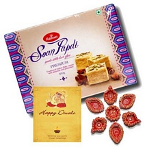 Haldiram's Soan Papdi 500g Pack with 1 Card and 7 Diyas for Diwali