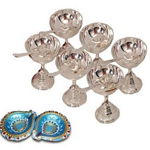Diwali Gifts - Silver Plated Brass Icecream Bowl Set with 2 Decorative Diyas