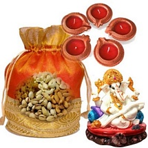 Dryfruits in Designer Potali with Lord Ganesh Idol n Diwali Diyas