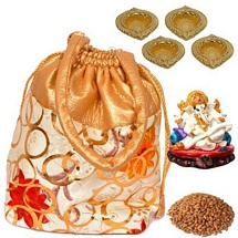 Almonds Potali with Ganesh Idol n Diwali Diyas