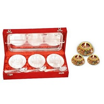 Diwali Gifts - Silver Plated Brass Bowl Set with 3 Diyas