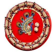 Jeweled Peacock Motif Pooja Thali