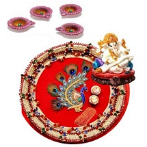 Designer Pooja Thali and Ganesha with 4 Designer Diyas