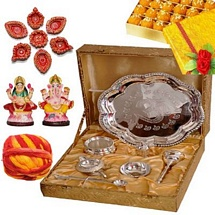 Silver Plated Diwali Pooja Thali with Divine Idols and Sweets