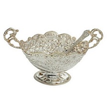 Silver Plated Brass Bowl with Spoon for Diwali and Dhanteras Gift