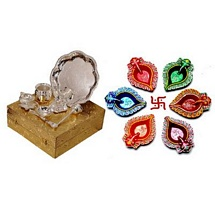 Diwali Gifts - Diwali Pooja Brass Thali Set with 6 Colorful Diyas