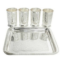Silver Plated Brass Tumblers with Tray for Diwali and Dhanteras Gift