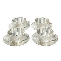 Silver Plated Tea Cups and Saucers for Diwali and Dhanteras Gifts