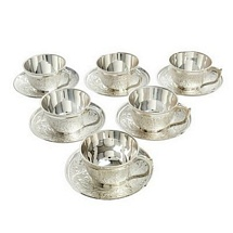 Silver Plated Tea Cups and Saucers Set for Dhanteras and Diwali Gifts