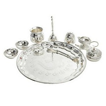 Silver Plated Brass Diwali Pooja Thali Set for Diwali Gift