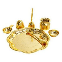 Gold Plated Brass Diwali Pooja Thali Set for Diwali