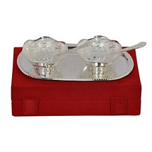 Silver Plated Brass Bowls Spoons n Tray Set