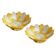 2 pcs Gold n Silver Plated Pure Brass Bowls