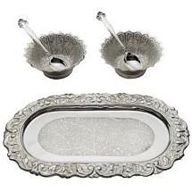 5 Pcs Silver Plated Brass Bowls Spoons and Tray Set
