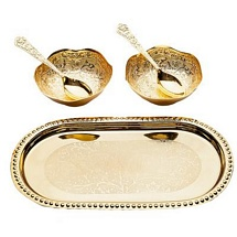 Gold Plated Bowls Spoons and Tray Set