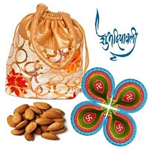 250g Almond Potali with 4 Diwali Diyas