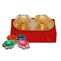 Diwali Gift - Golden & Silver Plated Brass Bowl Set with 4 Decorative Diwali Diyas