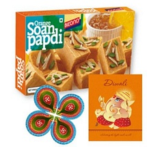 Orange Soan Papdi with 4 Diwali Diyas and 1 Card
