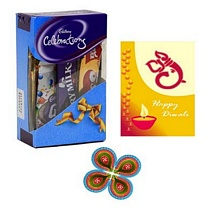 Chocolates Celebrations with Diwali Card and 4 Diyas for Diwali