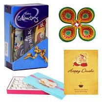 Choco and Kaju Barfi Celebrations with 1 Diwali Card and 4 Diyas