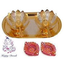 Diwali Gifts - Golden & Silver Plated Brass Bowl Set with 2 Decorative Diwali Diyas