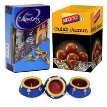 Cadbury Celebrations and Bikano Gulab Jamun with 3 Diwali Diyas