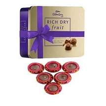Cadbury Rich Dry Fruit Collection with 6 Matki Diyas for Diwali