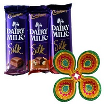 3 Dairy Milk Silk Chocolates for Diwali with 4 Decorated Diyas
