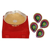 Diwali Gift - Golden & Silver Brass Bowl with 4 Colorful Diwali Diyas