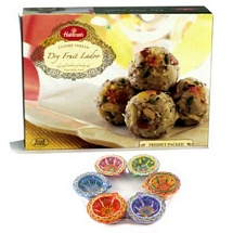 Haldiram's Dry Fruit Laddu with 6 Decorated Diwali Diyas