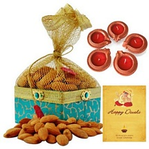 200g Almonds Potali with 5 Earthen Diyas and Card For Diwali
