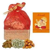 300g Mixed Dry Fruits Potali with 1 Diwali Card