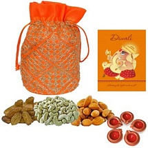 300g Mixed Dry Fruits Potali with 5 Diwali Diyas