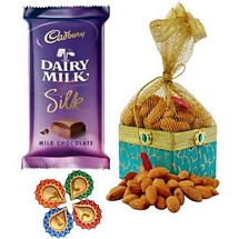 200g Almonds Potali with 1 Dairy Milk Silk and 4 Diwali Diyas