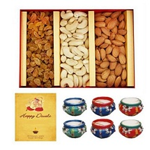 600g Dry Fruits with 1 Diwali Card and 6 Matki Diyas