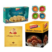 Bikano Gulab Jamun and Soan Papdi Diwali Hamper with Diyas & Card