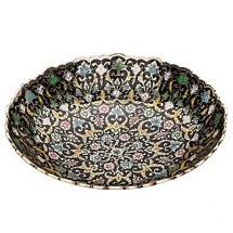 Black Meenakari Brass Bowl