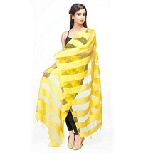 Yellow Big stripped Fancy Dupatta