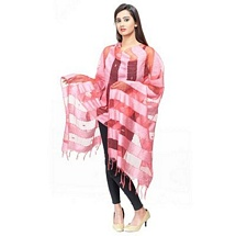 Peach Big Stripped Fancy Dupatta