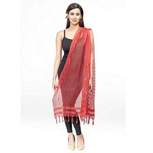 Red Checkered Poly Cotton Fancy Dupatta