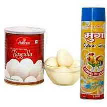 Haldiram Rasgulla with Color Spray