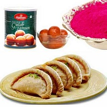 Gujiya, Gulal and Gulab Jamun for Holi