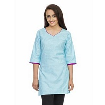Elite Sky Blue Color Cotton Kurti